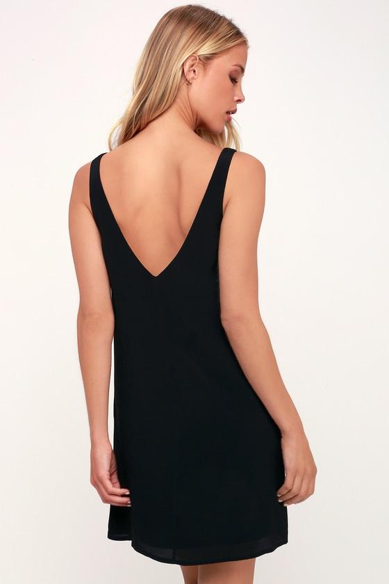 Chic Black Dress Sleeveless Dress Shift Dress V Neck Dress
