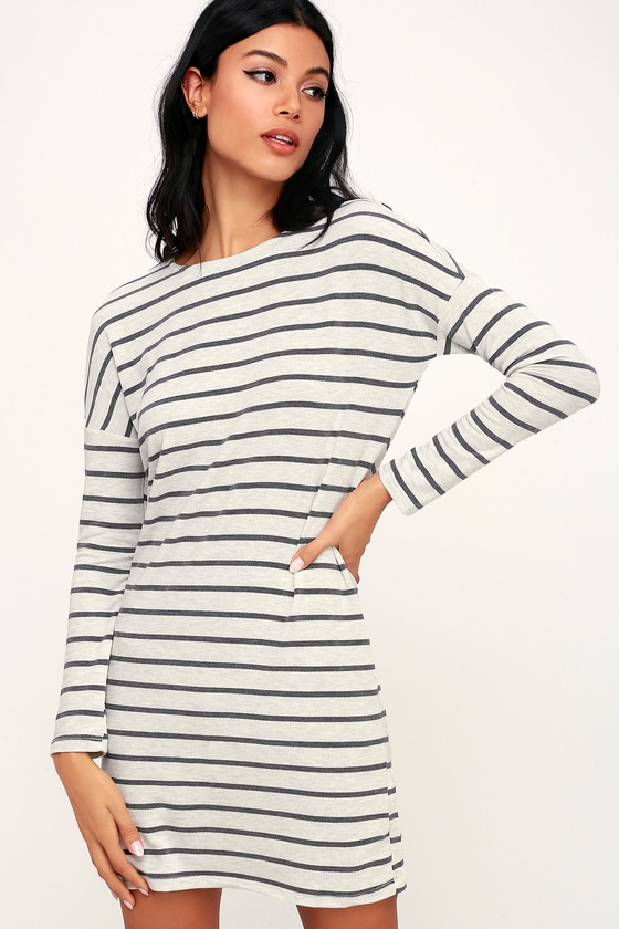 Simply Put Grey Striped Long Sleeve Shirt Dress - Trendy Career Outfit