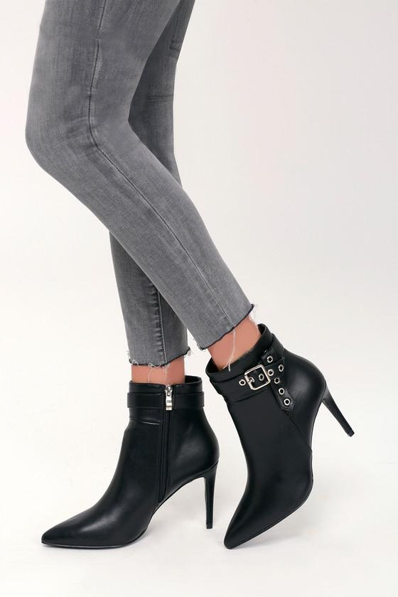 df77a1abd664 Sleek Black Booties - Black Ankle Booties - Vegan High Heel Boots