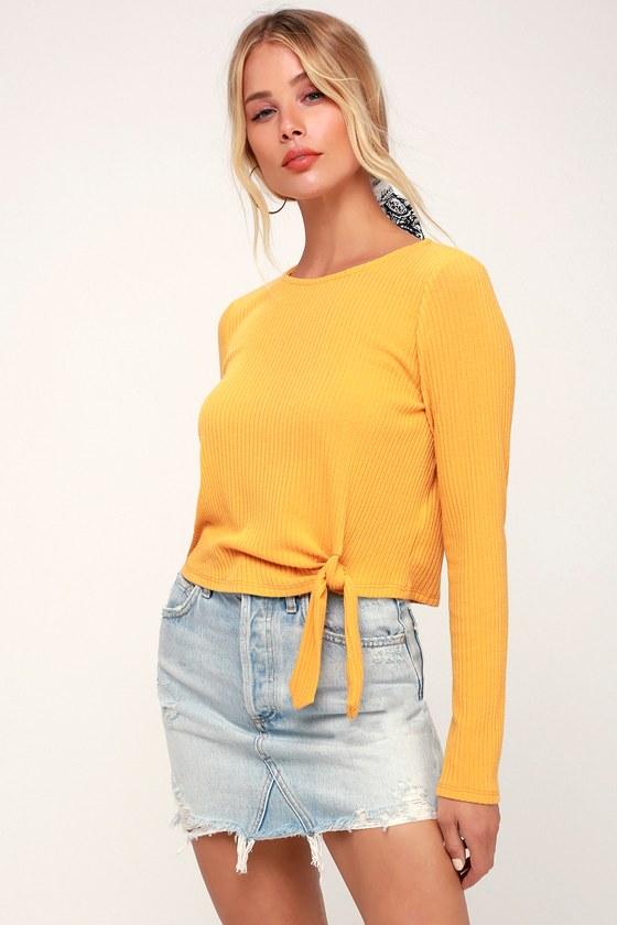 ccf2c10bef850 Lulus Basics - Mustard Yellow Crop Top - Ribbed Long Sleeve Top