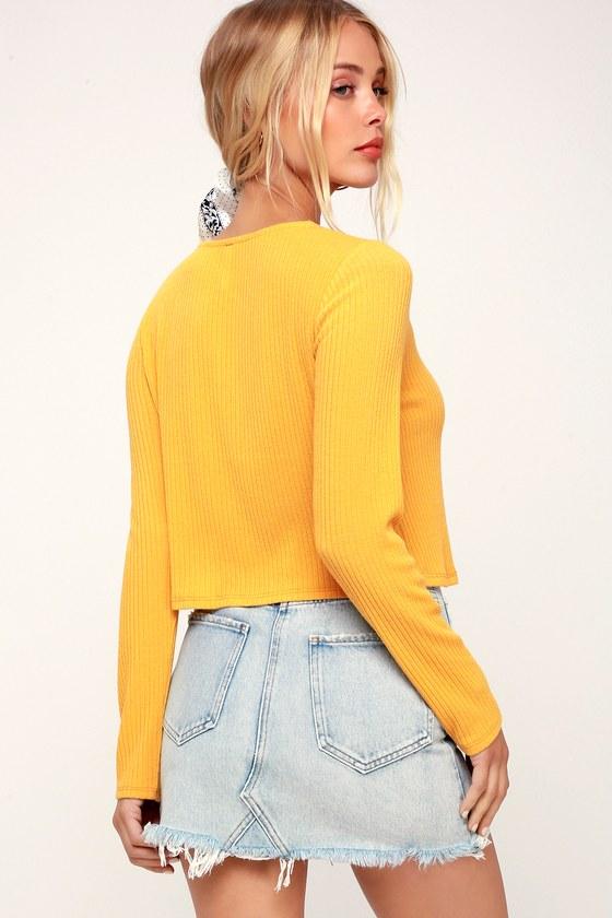 0064dce9004933 Lulus Basics - Mustard Yellow Crop Top - Ribbed Long Sleeve Top