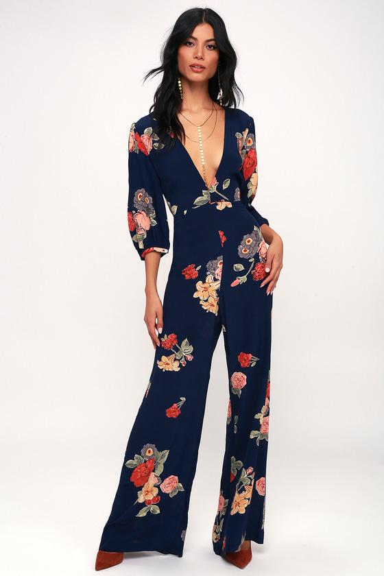 71ef0e2c35c Capulet Nat - Navy Blue Floral Print Jumpsuit - Plunge Jumpsuit