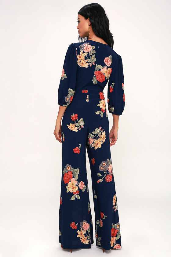 6dd043a3a3c Capulet Nat - Navy Blue Floral Print Jumpsuit - Plunge Jumpsuit