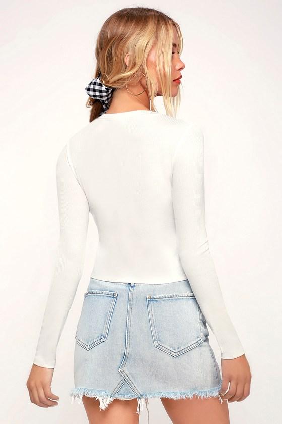 11995ab7c51 Hollis White Ribbed Long Sleeve Crop Top