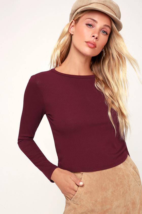 7435050d64937 Cute Burgundy Top - Crop Top - Long Sleeve Top - Ribbed Knit Top