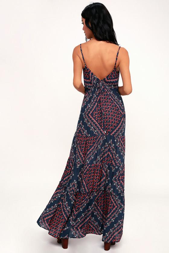 447c882743 Cute Maxi Dress - Navy Blue Floral Dress - Empire Waist Dress