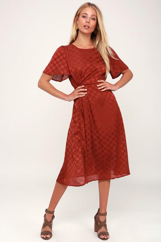 3c2638d13b4 ASTR the Label Ebony - Rust Red Polka Dot Dress - Midi Dress