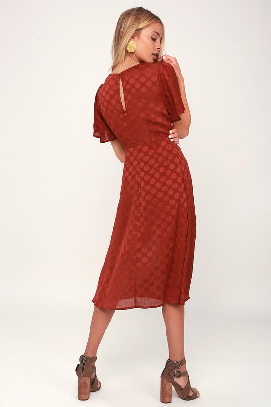 5ec558669c9366 ASTR the Label Ebony - Rust Red Polka Dot Dress - Midi Dress