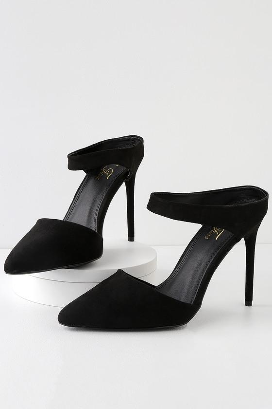 57e59f86ffc Chic Black Heels - Pointed Toe Heels - Vegan Suede Heels