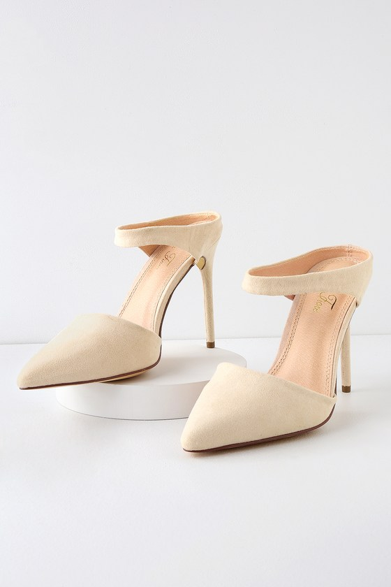 4929075a32b Chic Nude Heels - Pointed Toe Heels - Vegan Suede Heels