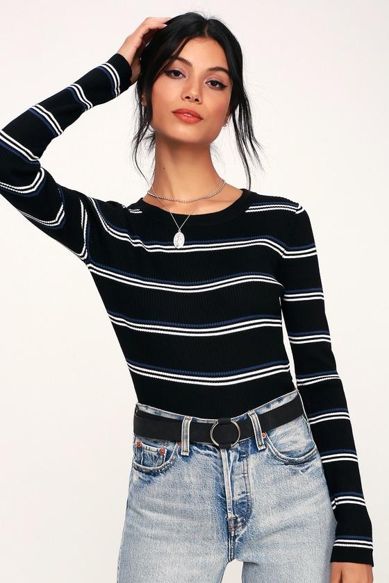 7eb93438c4 Cute Black Sweater Top - Striped Sweater Top - Cropped Sweater