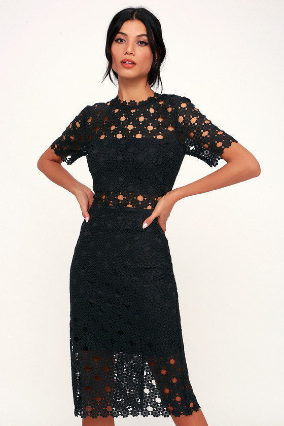 Heartfelt Black Lace Bodycon Midi Dress