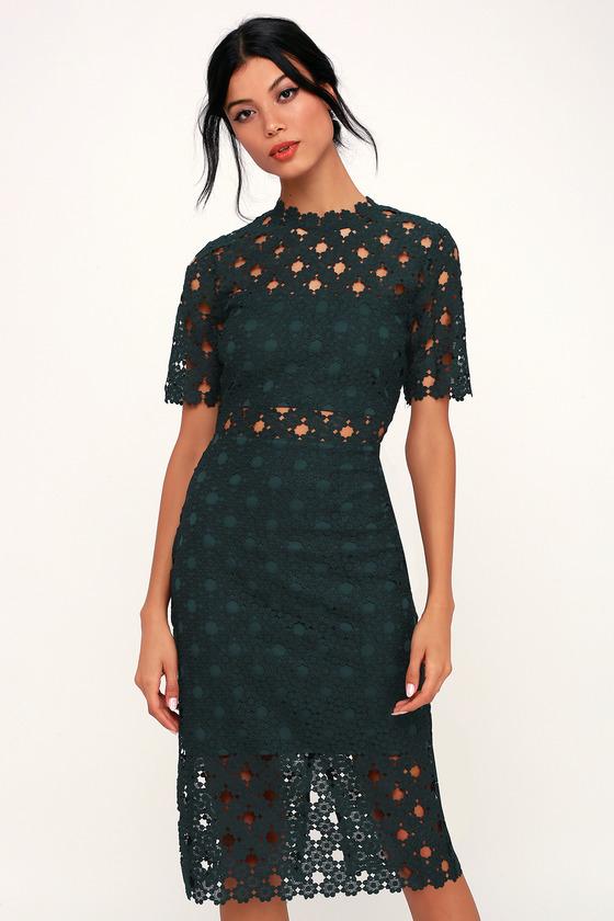 a9810bf9a2f Sexy Dark Green Lace Dress - Lace Bodycon Dress - Lace Midi Dress