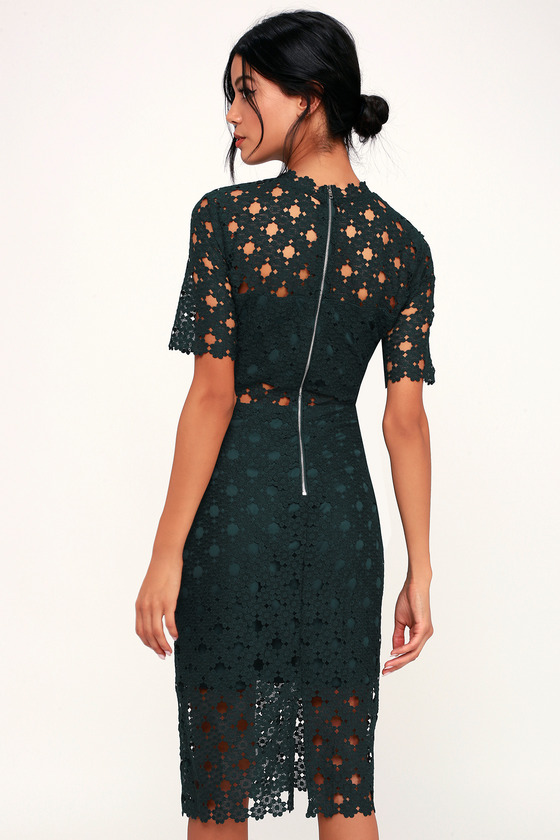 Sexy Dark Green Lace Dress - Lace Bodycon Dress - Lace Midi Dress bea5437af