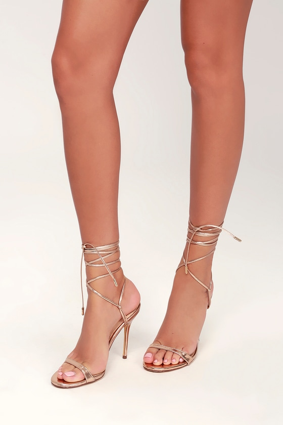 cffd50aee591 Sexy Rose Gold Lace-Up Heels - Lace-Up Heels - Lace-Up Stilettos