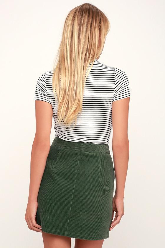 b318f5615b Cute Olive Green Corduroy Mini Skirt - Corduroy A-Line Skirt