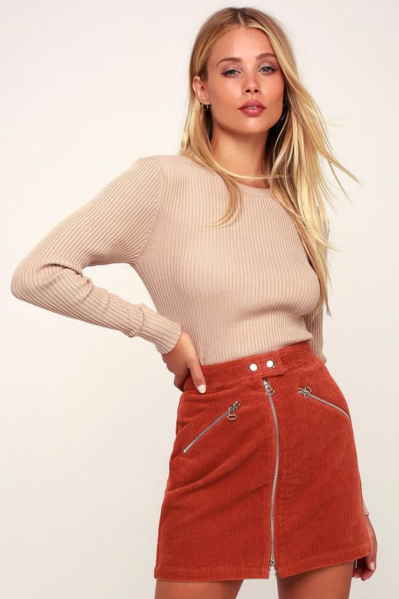 c46241879d Cute Rust Orange Corduroy Mini Skirt - Corduroy A-Line Skirt