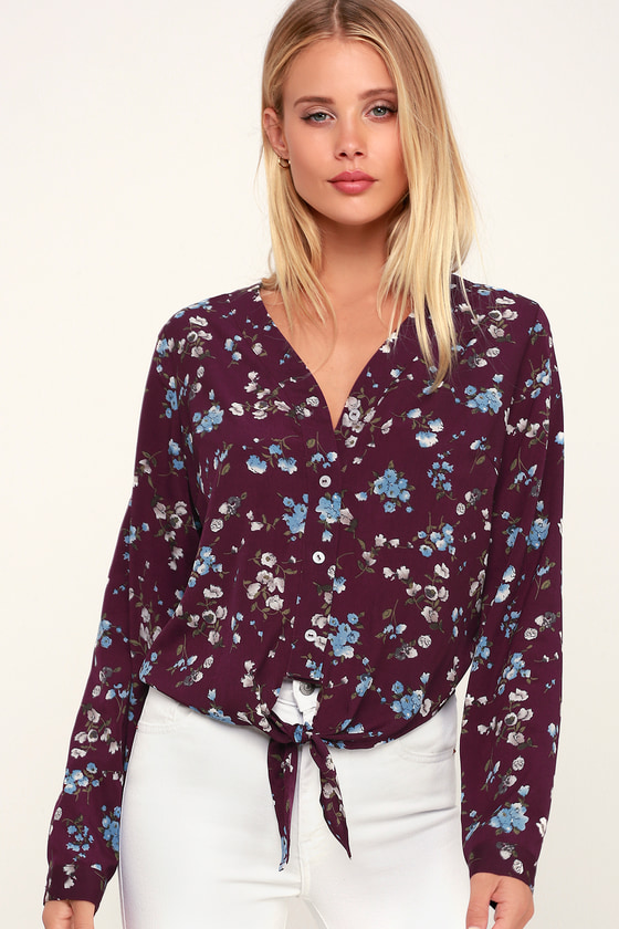 d974ba0dffdd6 Cute Burgundy Top - Floral Print Top - Cute Tie-Front Top