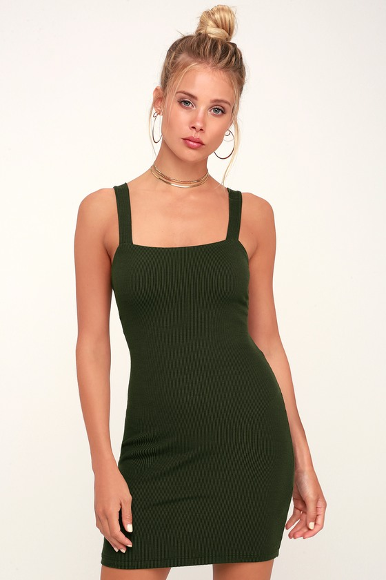 124e8c18ef LUSH Dress - Green Striped Dress - Tie-Back Dress - Green Dress