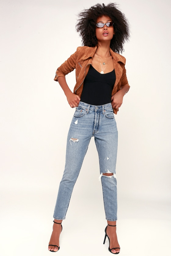 6809fa65 Levi's 501 Skinny - Light Wash Distressed Jean - High Rise Jeans