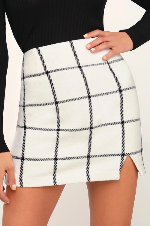 Spence White Plaid Mini Skirt