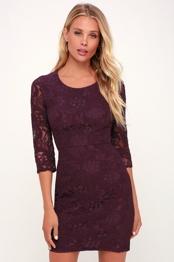 All For You Dark Purple Lace Bodycon Dress - Lulus