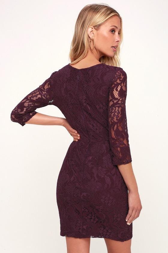 abef9ab11e93 Sexy Dark Purple Lace Dress - Lace Bodycon Dress - Purple Dress