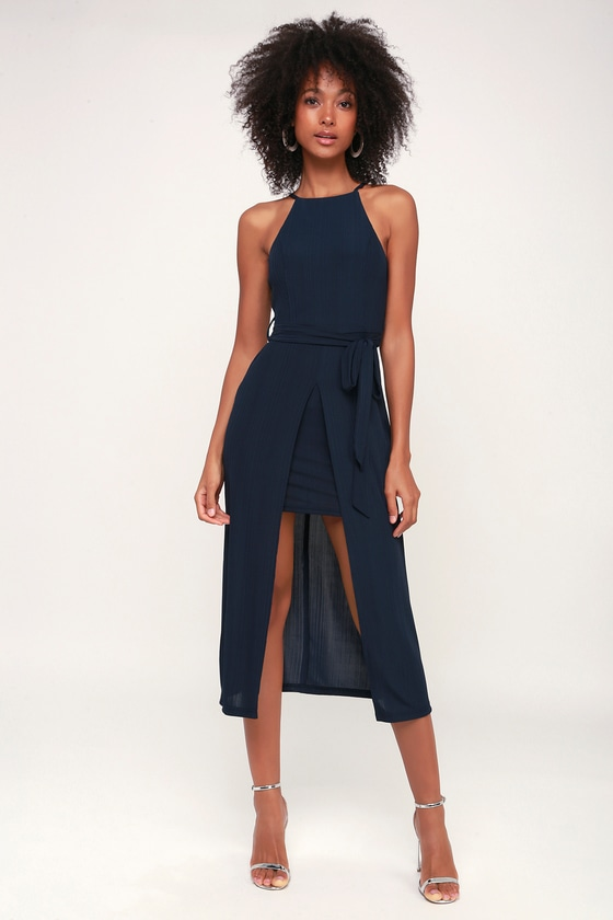 582bd660d70 Black Swan Caroline - Layered Dress - Navy Blue Midi Dress