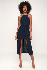 61811be4333a7 Classy Navy Blue Dress - Tie-Front Dress - Midi Dress