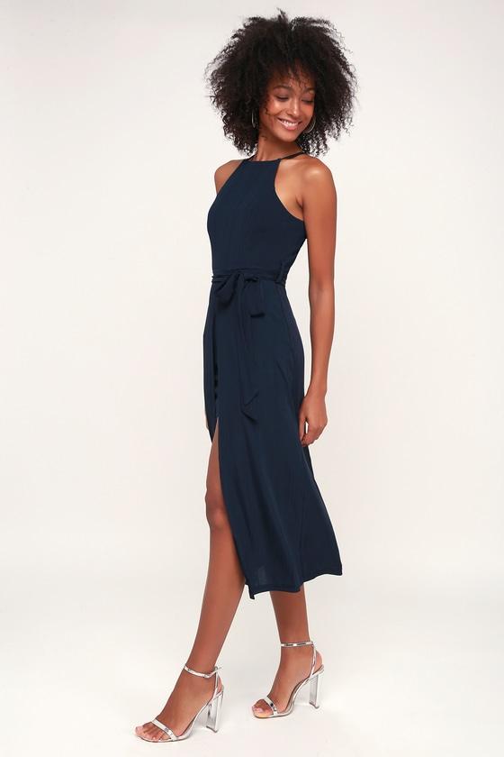 56c7e3fb4003 Black Swan Caroline - Layered Dress - Navy Blue Midi Dress