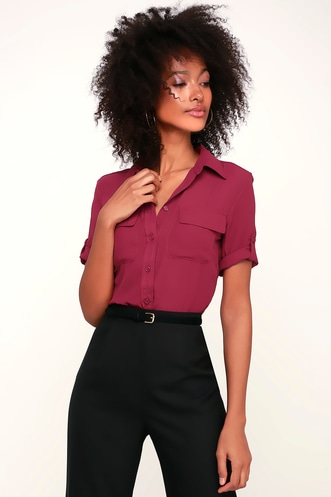 Best of Friends Berry Red Button-Up Top a7110a178