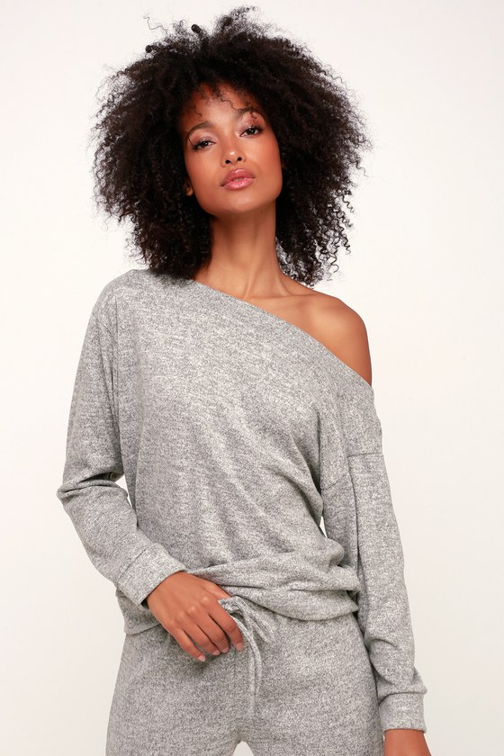 Cozy Days Heather Grey Asymmetrical Off-the-Shoulder Sweatshirt 87f6c3177