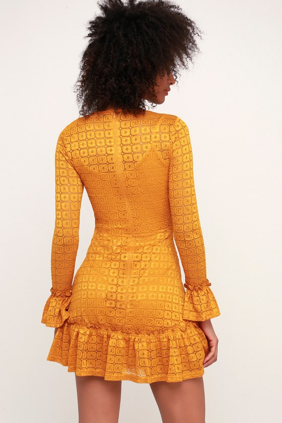 cb1bd8c398d The Fifth Label Symbols - Mustard Yellow Lace Long Sleeve Dress