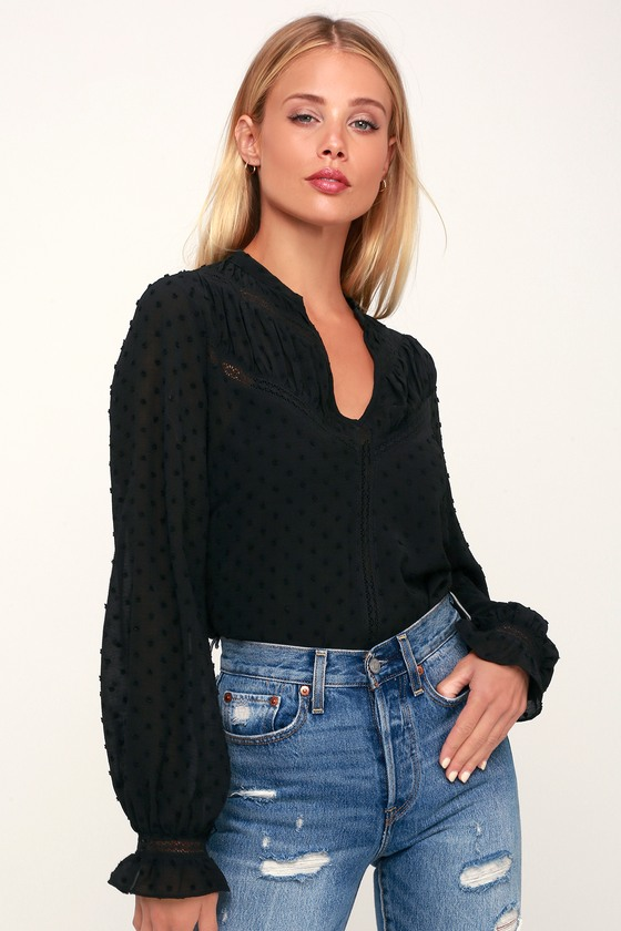 aced1d6887a Lovely Black Lace Top - Swiss Dot Blouse - Black Long Sleeve Top