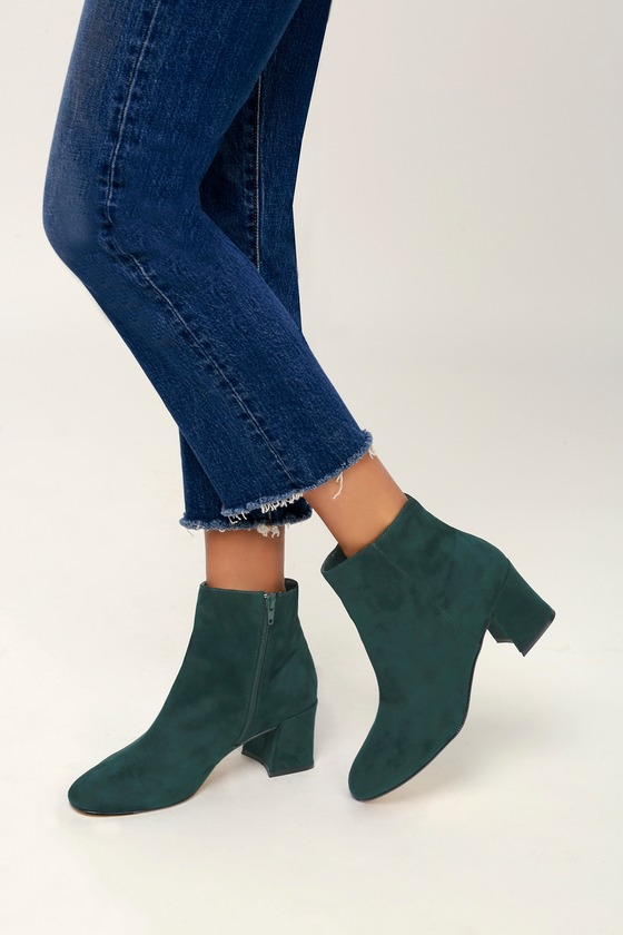 1582026f243 Chinese Laundry Daria - Green Ankle Boots - Faux Suede Booties