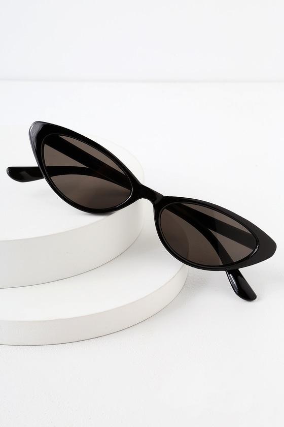 Retro Sunglasses | Vintage Glasses | New Vintage Eyeglasses Bayside Black Small Cat-Eye Sunglasses - Lulus $12.00 AT vintagedancer.com