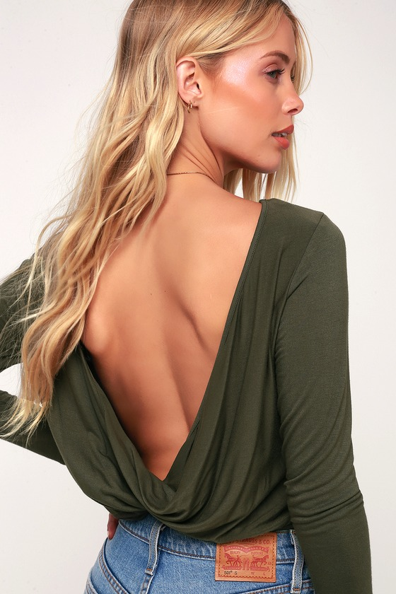 Image of Denine Olive Green Reversible Long Sleeve Top - Lulus