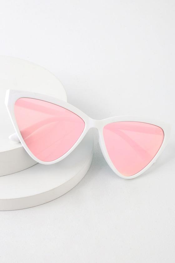 b6b63bde02a3 Trendy White Cat-Eye Sunglasses - Hot Pink Mirrored Sunglasses