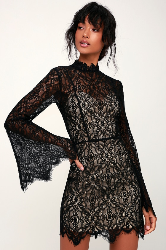 a21f5f140b7 Ryse Carson - Black Lace Mini Dress - Lace Bell Sleeve Dress