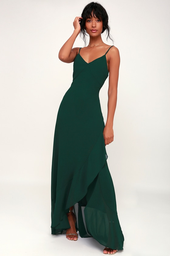 Ada Forest Green Lace-Up Maxi Dress - Lulus