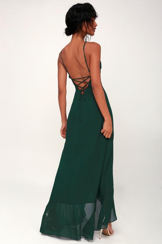 Lovely Maxi Dress - Forest Green Maxi Dress - Ruffled Maxi Dress 17e42f0af