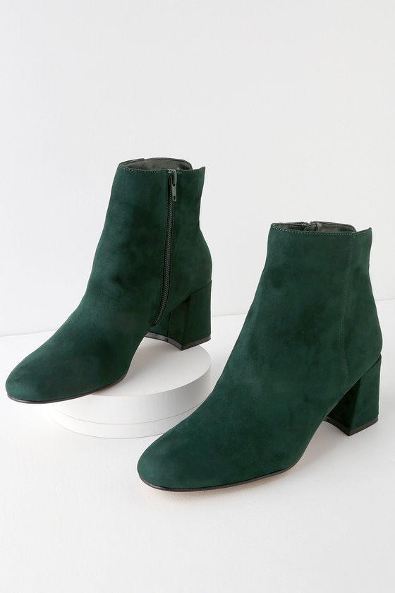 735e1506d6c Chinese Laundry Daria - Green Ankle Boots - Faux Suede Booties