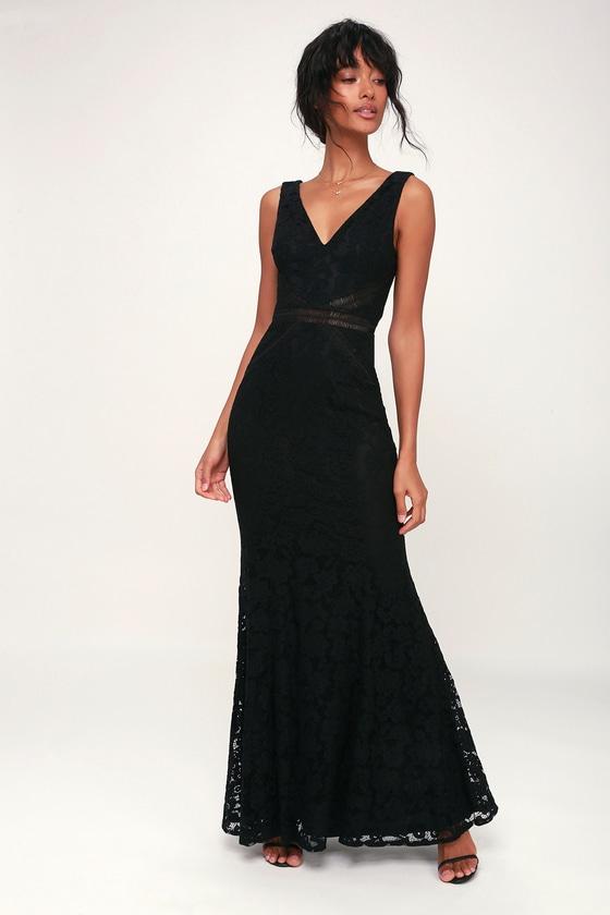 a0506cbeaf1 Lovely Black Dress - Lace Dress - Maxi Dress - Sleeveless Dress