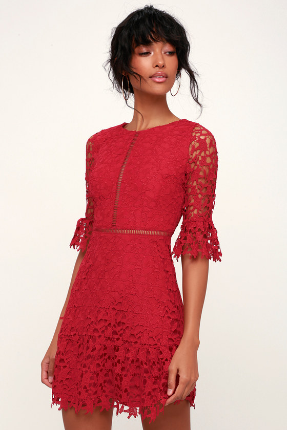 91f680e59cf0 BB Dakota In The Moment - Wine Red Lace Dress - Lace A-Line Dress