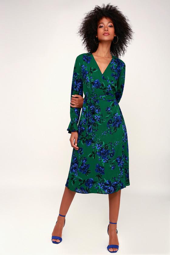 6b91c20842a Lovely Green Floral Print Dress - Floral Midi Dress - Wrap Dress