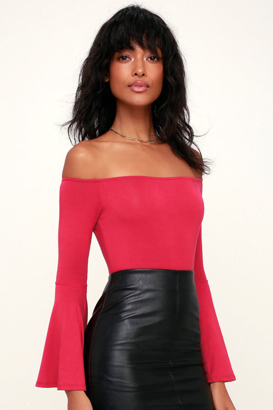 75a8e6b21ae Chic Berry Red Top - Red Long Sleeve Top - Off-the-Shoulder Top