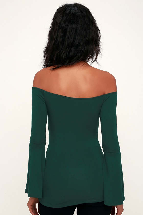 b155727d34f1c0 Chic Hunter Green Top - Long Sleeve Top - Off-the-Shoulder Top