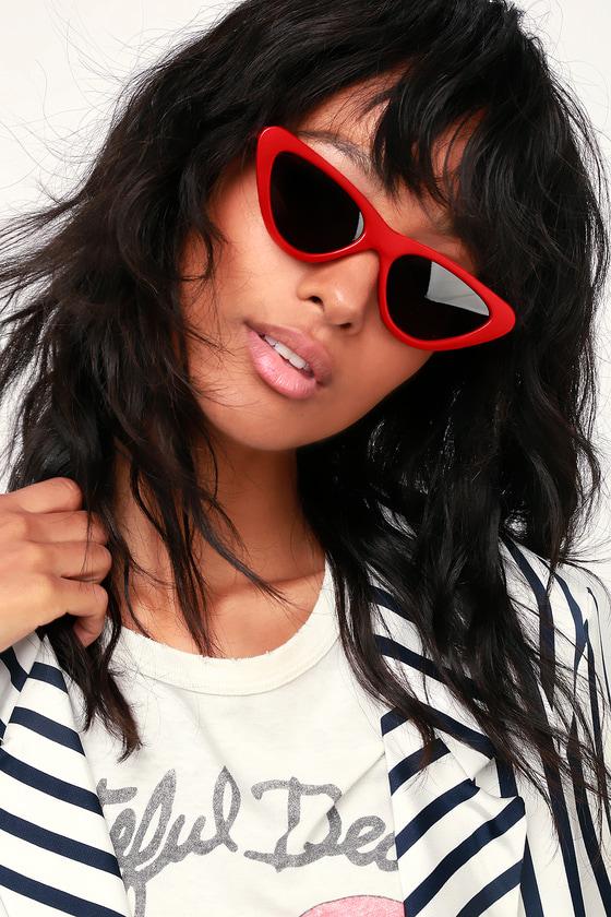 656c90240f Chic Red Cat-Eye Sunglasses - Slim Cat-Eye Sunglasses - Sunnies