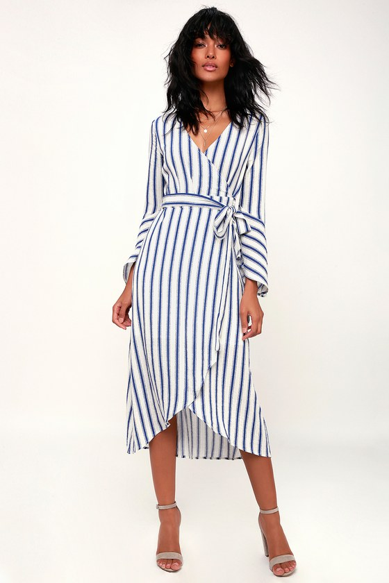 96d710e6c9 Blue and White Striped Dress - Wrap Midi Dress - Flounce Sleeve