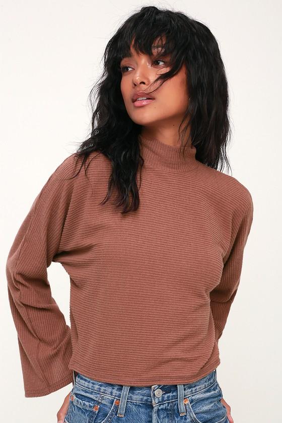 Reid Rust Brown Ribbed Mock Neck Sweater Top - Lulus